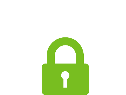 Green lock icon with cloud around it